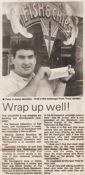Mill Hill Chippy Newspaper Clipping